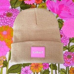 Tan & Pink Cuffed Logo Beanie Hat